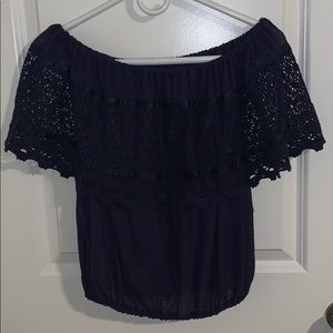 Free People Navy Blue Off the Shoulders Top